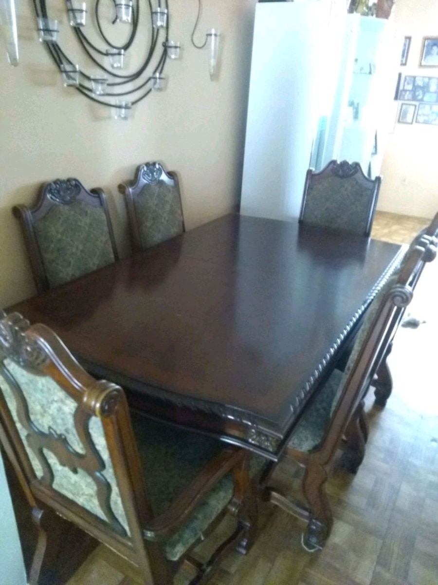 used rectangular brown wooden table with 6 chairs di for sale in rh us letgo com