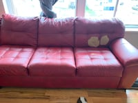 Red leather couch Bridgeport