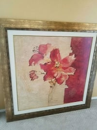 red and white flower painting with brown wooden fr Corona, 92882