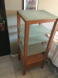 square brown-framed frosted glass rack