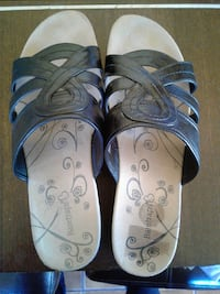pair of blue-and-white sandals Long Beach