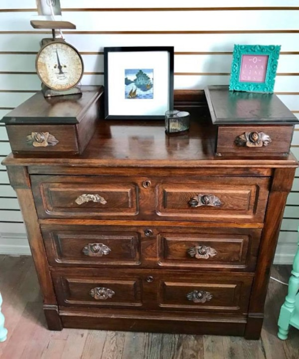 Antique solid wood Swedish chest of drawers dresser