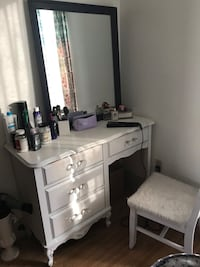 White Refinished Vanity/ Desk Revere, 02151