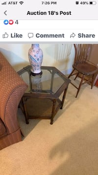 End table mahogany with glass tops