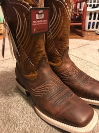 pair of brown Ariat leather square-toe cowboy boots