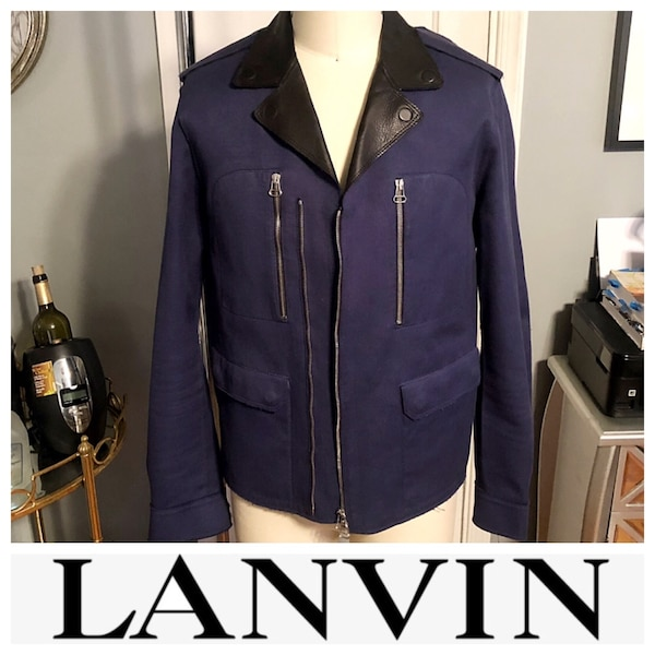 Men's Lanvin biker jacket size 52 (XL) leather paid $3,800 excellent condition. Only worn twice! 5f91aa34-a6b0-432f-a216-44ee4c584d5c