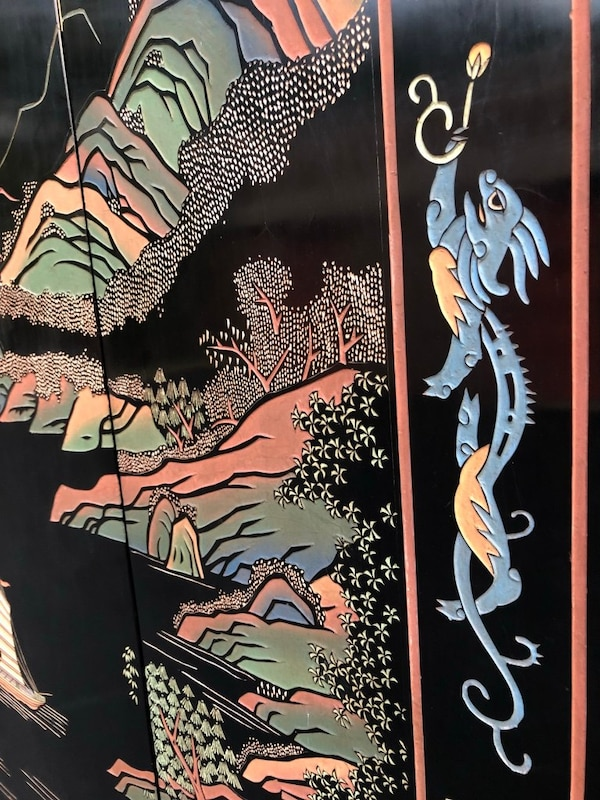 Hong Kong etched, painted wooden screen. Brought to U.S. in the 60's. Not perfect but good condition. 29b86e3e-4953-4bc5-b209-5d621cc29eb5