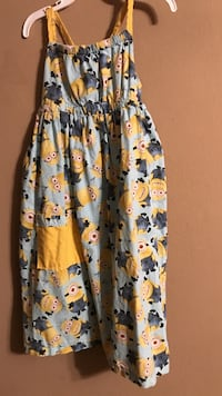 girl's yellow and white Minions print sleeveless dress