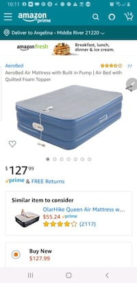 "Aerobed Opticomfort 18"" Queen Air Mattress w/ pillowtop & pump"