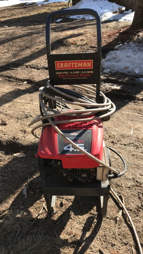 Black and red Craftsman 1800 PSI 4.5 HP 2.0 GPM pressure washer