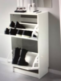 Tan wooden shoe organizer cabinet  Burnaby, V5E 1C3