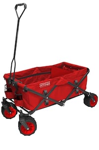 Creative outdoors foldable all-terrain wagon. Red.