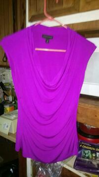 women's purple draped shirt