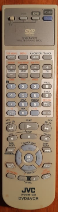 Original JVC  VCR TV DVD Remote Control LP21036-033 EUC  wear normally associated with a used remote  batteries not included  (Ref # Bx 2/eb)