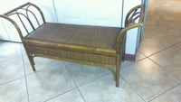 brown wooden framed black padded bench Kissimmee, 34743