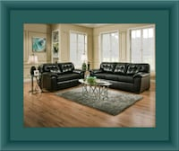 Black bonded sofa and loveseat Laurel