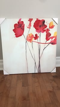 Red and yellow flower painting  35 x 35  SMOKE FREE HOME not a mark on it Orangeville