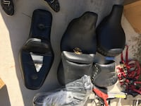 Harley Davidson motorcycle seats, windshield, lots of extra assessor . Also got five helmets Micro, 27576