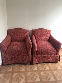 red and brown floral fabric sofa chairs Cleveland, 44102
