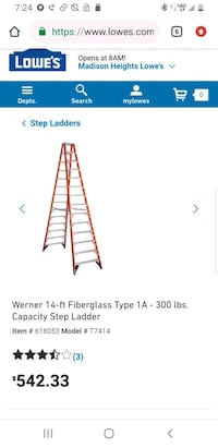14 ft. Fiberglass Twin Step Ladder with 300 lb. Lo
