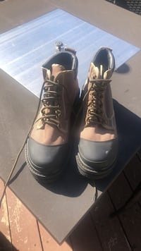 pair of brown leather work boots Saanichton, V8M 1L4