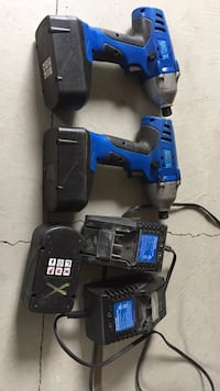Two black-and-blue cordless impact drills