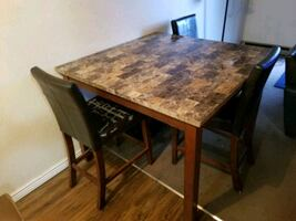 high table with faux marble top