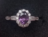 Amethyst oval  and cz ring Baltimore