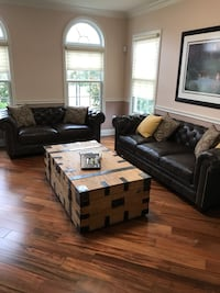 2-piece brown leather sofa set and trunk