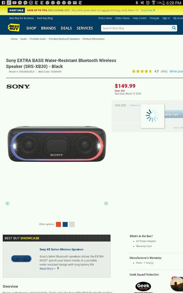 Black Sony Bluetooth Speaker