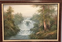 Serene Oil Painting in a cherry wood and linen frame  169 mi