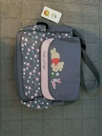 gray and pink Pooh and Piglet crossbody bag
