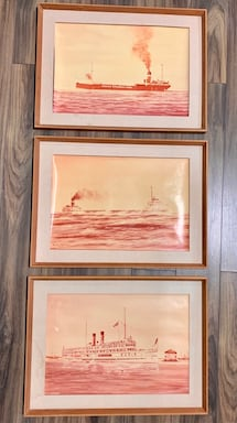 Vintage Original Framed Photos of Canadian ships ( Canadian History).