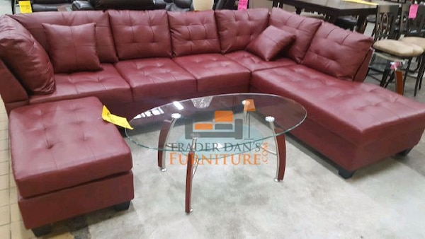 Brand New Red Faux Leather Sectional Sofa +Ottoman