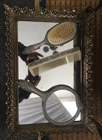 Three piece vintage comb, brush, hand mirror set, with tray
