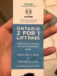 2 FOR 1 ADULT SKI LIFT TICKET | BLUE MOUNTAIN, MOUNT ST LOUIS, MORE Mississauga, L5L 3H5
