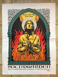 Title: Soundgarden  Poster artist: Justin Hampton  Edition: 1st Edition, Artist Edition, Signed, Numbered, and Embossed out of 100  Year: 2011  Type: Limited Edition Screen Printed Poster  Size: 18 x 24  Location: Vancouver  Venue: Rogers Arena Vancouver, V6E 1N8