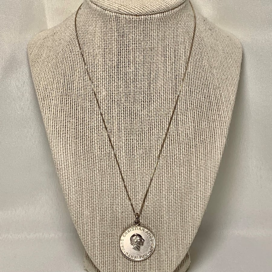 Sterling Silver Hans Christian Pendant Charm with Sterling Chain