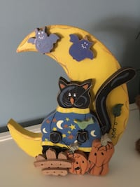 black and blue yellow cat wooden cutout decor Denton, 21629
