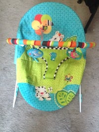 Infant teal and green animal print bouncer seat bright starts brand  Virginia Beach, 23464