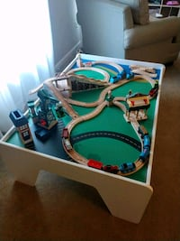 Train table and Thomas trains, tracks, accessories