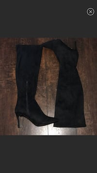pair of black suede heeled knee-high boots Royal Oaks, 95076