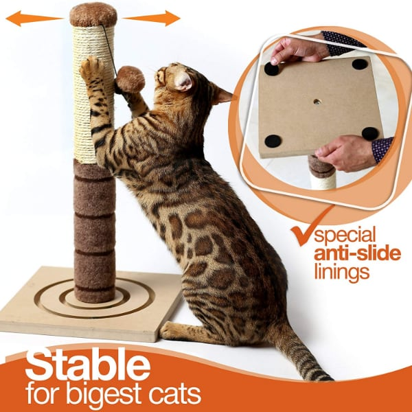 NEW 4 Paws Tall Plush Sisal Cat Scratching Post KEEP YOUR CAT BUSY