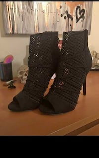 black suede peep-toe laser-cut stiletto booties Abbotsford, V2S