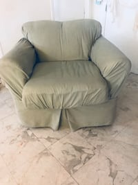 Two deep comfy armchairs, both with a light sage removable green cover. Shepherdstown, 25443