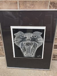 Hand sketched drawing of a tiger in frame Leo-Cedarville, 46765