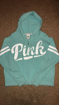 teal and white Pink by Victoria's Secret hoodie
