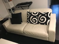 White leather 3 seat couch sofa