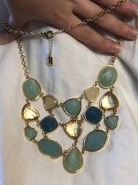 Silver and blue gemstone necklace