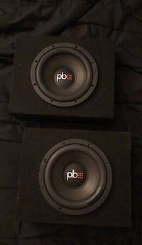 """2 PowerBass 8"""" shallow mount subwoofers and enclosure Houston, 77065"""